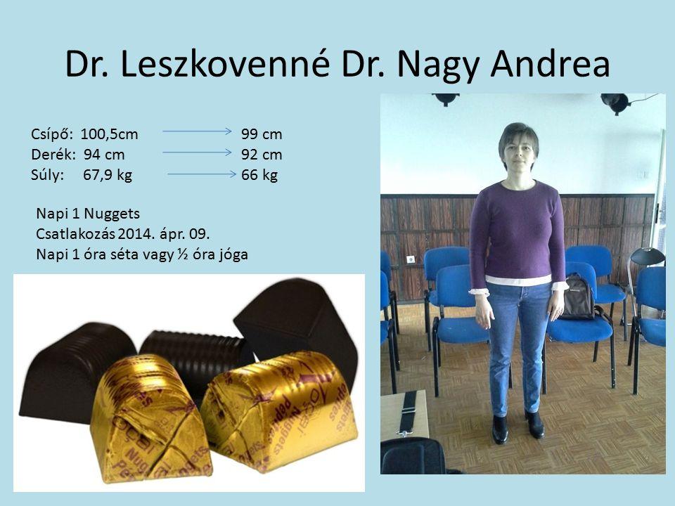 Dr. Leszkovenné Dr. Nagy Andrea Csípő: 100,5cm 99 cm Derék: 94 cm 92 cm Súly: 67,9 kg 66 kg Napi 1 Nuggets Csatlakozás 2014. ápr. 09. Napi 1 óra séta