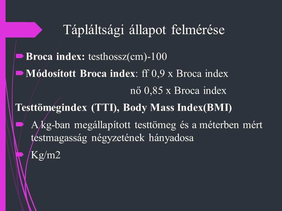 Tápláltsági állapot felmérése  Broca index: testhossz(cm)-100  Módosított Broca index: ff 0,9 x Broca index nő 0,85 x Broca index Testtömegindex (TT