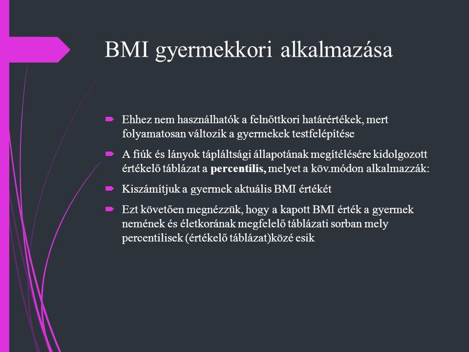 BMI gyermekkori alkalmazása  Ehhez nem használhatók a felnőttkori határértékek, mert folyamatosan változik a gyermekek testfelépítése  A fiúk és lán