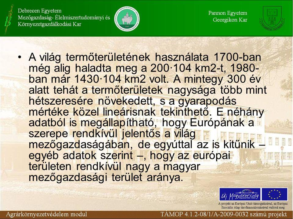 A világ termőterületének használata 1700-ban még alig haladta meg a 200·104 km2-t, 1980- ban már 1430·104 km2 volt. A mintegy 300 év alatt tehát a ter