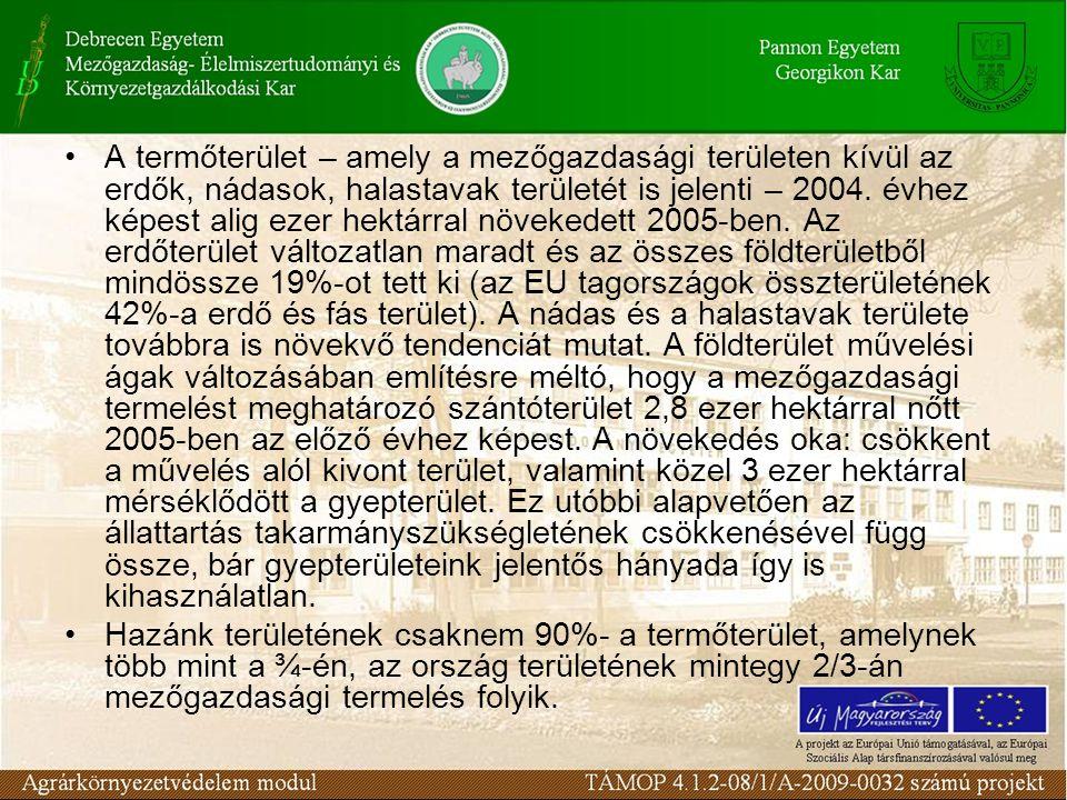 A termőterület – amely a mezőgazdasági területen kívül az erdők, nádasok, halastavak területét is jelenti – 2004.