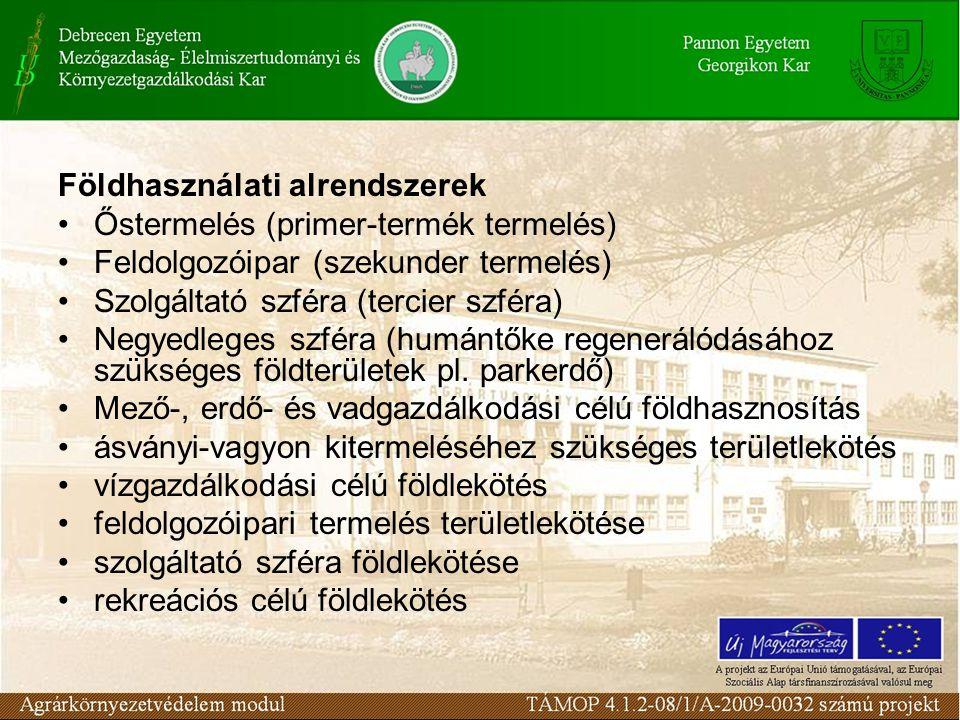 Földhasználati alrendszerek Őstermelés (primer-termék termelés) Feldolgozóipar (szekunder termelés) Szolgáltató szféra (tercier szféra) Negyedleges sz