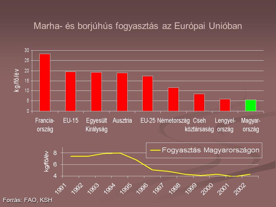 Marha- és borjúhús fogyasztás az Európai Unióban Forrás: FAO, KSH