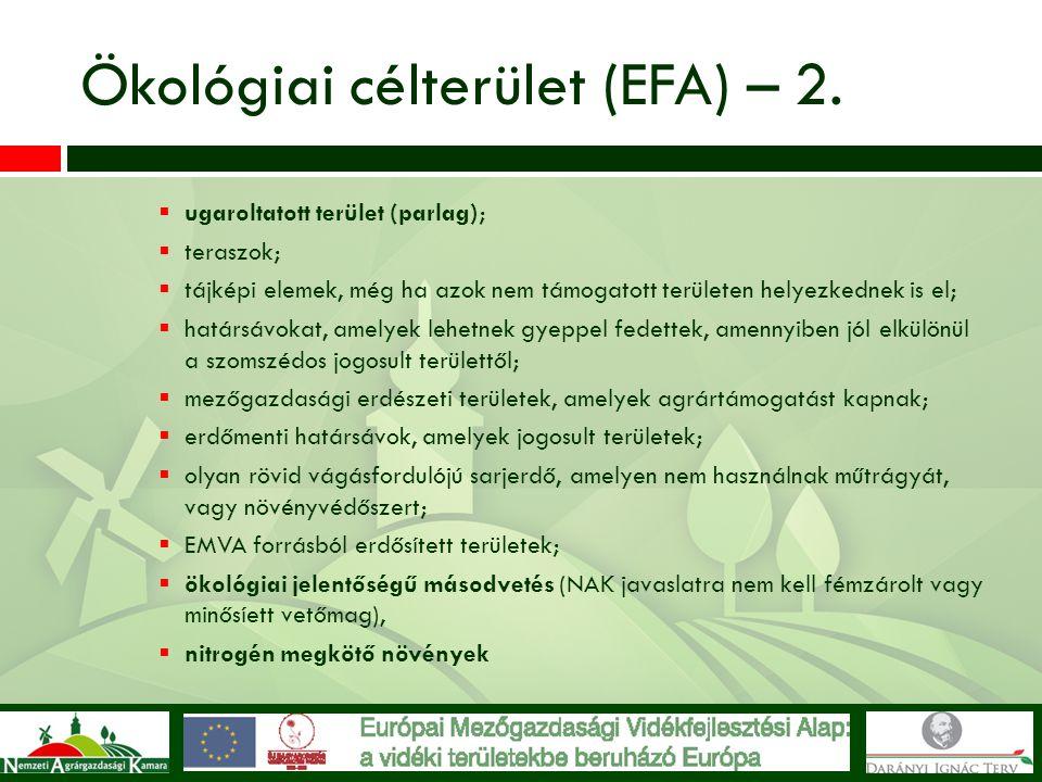 Ökológiai célterület (EFA) – 2.  ugaroltatott terület (parlag);  teraszok;  tájképi elemek, még ha azok nem támogatott területen helyezkednek is el