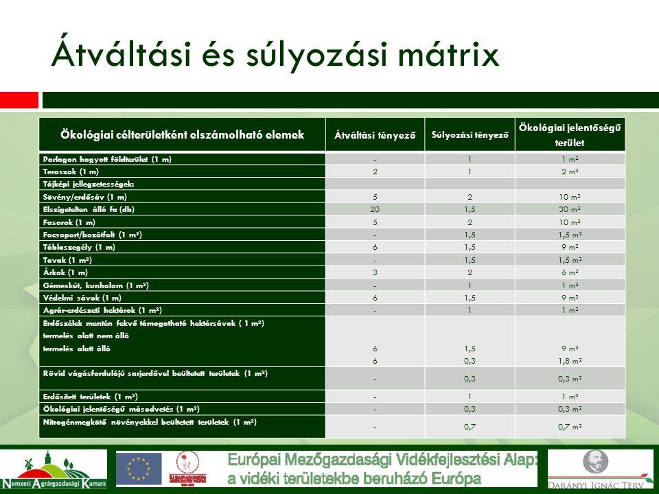Átváltási és súlyozási mátrix Ökológiai célterületként elszámolható elemek Átváltási tényező Súlyozási tényező Ökológiai jelentőségű terület Parlagon