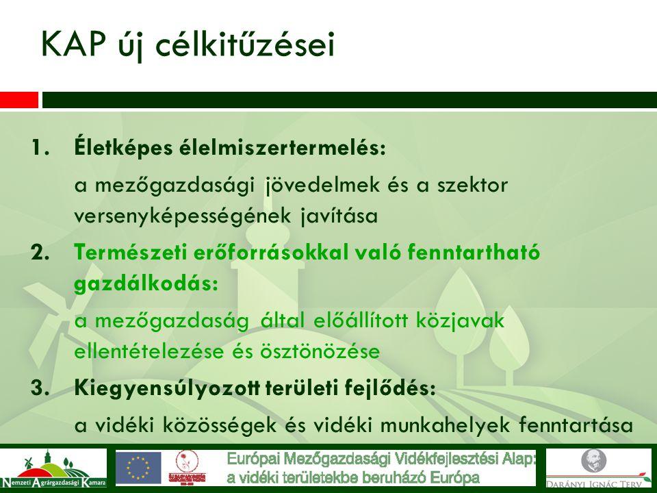KAP új célkitűzései 1.Életképes élelmiszertermelés: a mezőgazdasági jövedelmek és a szektor versenyképességének javítása 2.Természeti erőforrásokkal v
