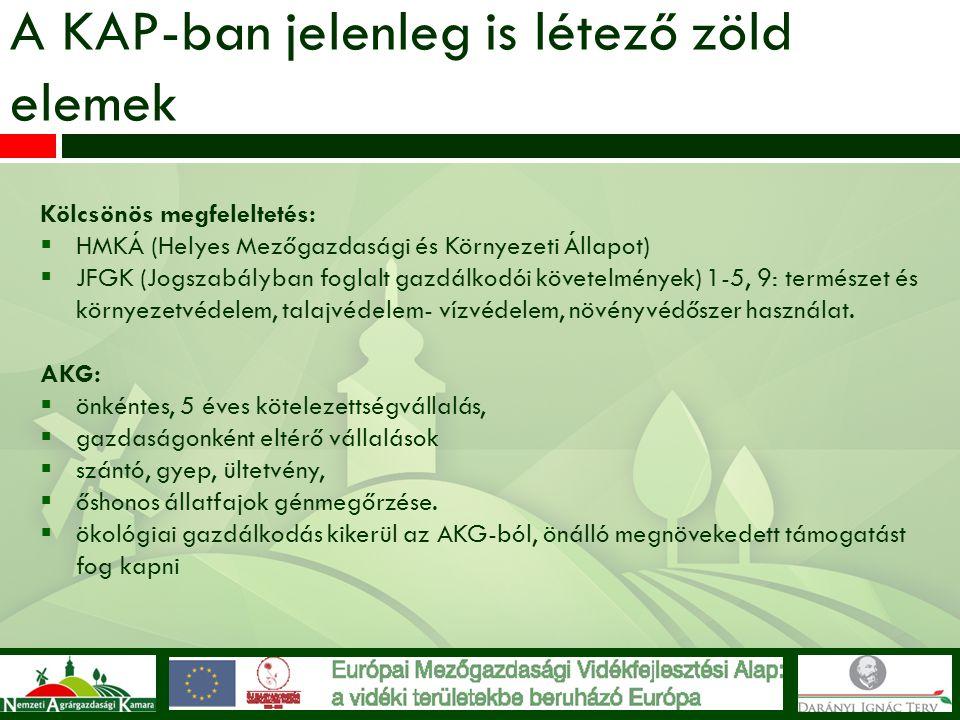 A KAP-ban jelenleg is létező zöld elemek Kölcsönös megfeleltetés:  HMKÁ (Helyes Mezőgazdasági és Környezeti Állapot)  JFGK (Jogszabályban foglalt ga
