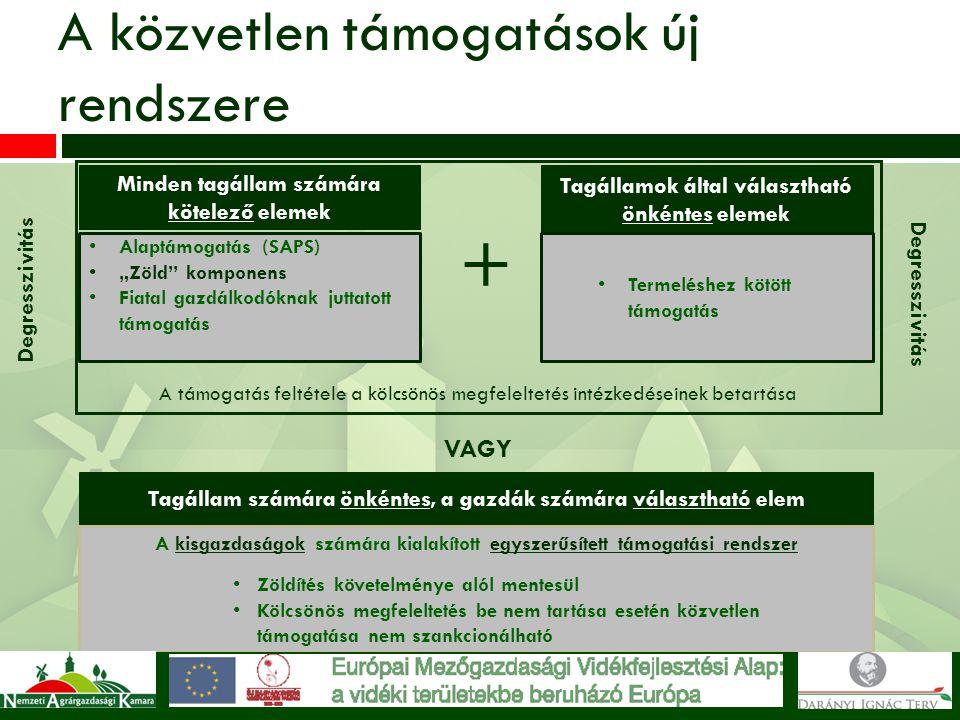A támogatás feltétele a kölcsönös megfeleltetés intézkedéseinek betartása A közvetlen támogatások új rendszere Minden tagállam számára kötelező elemek