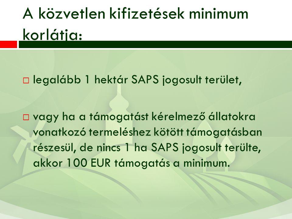A közvetlen kifizetések minimum korlátja:  legalább 1 hektár SAPS jogosult terület,  vagy ha a támogatást kérelmező állatokra vonatkozó termeléshez