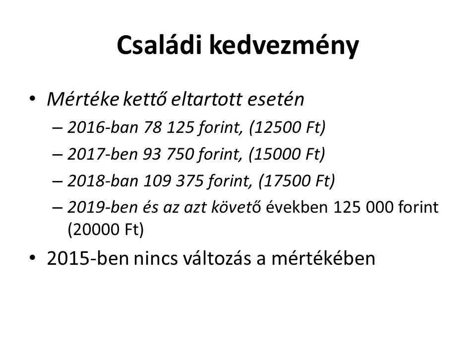 Családi kedvezmény Mértéke kettő eltartott esetén – 2016-ban 78 125 forint, (12500 Ft) – 2017-ben 93 750 forint, (15000 Ft) – 2018-ban 109 375 forint,