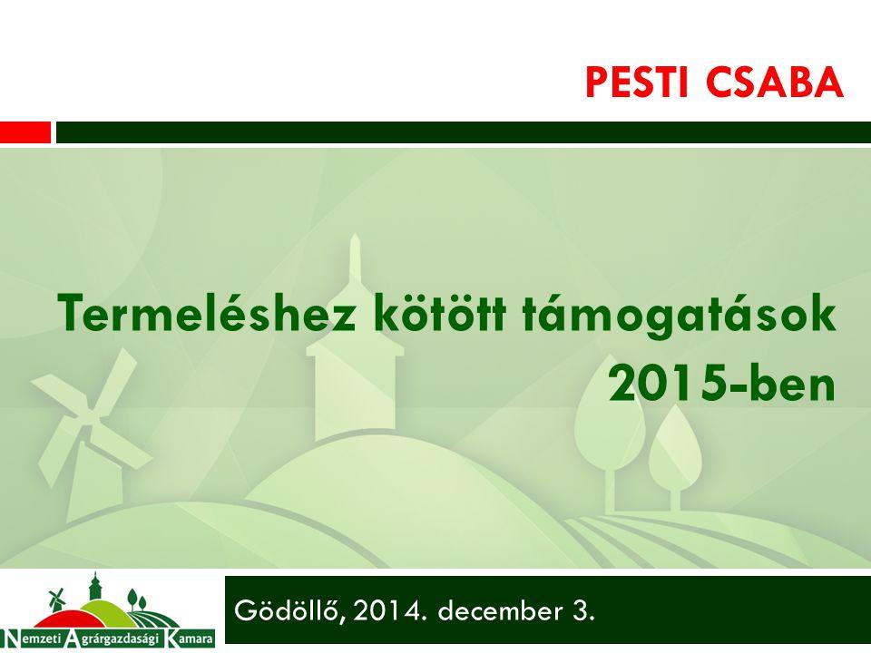 PESTI CSABA Termeléshez kötött támogatások 2015-ben Gödöllő, 2014. december 3.