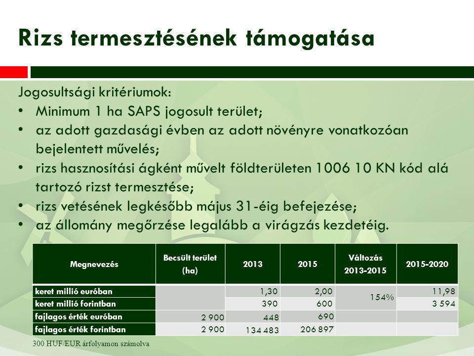 Jogosultsági kritériumok: Minimum 1 ha SAPS jogosult terület; az adott gazdasági évben az adott növényre vonatkozóan bejelentett művelés; rizs hasznos