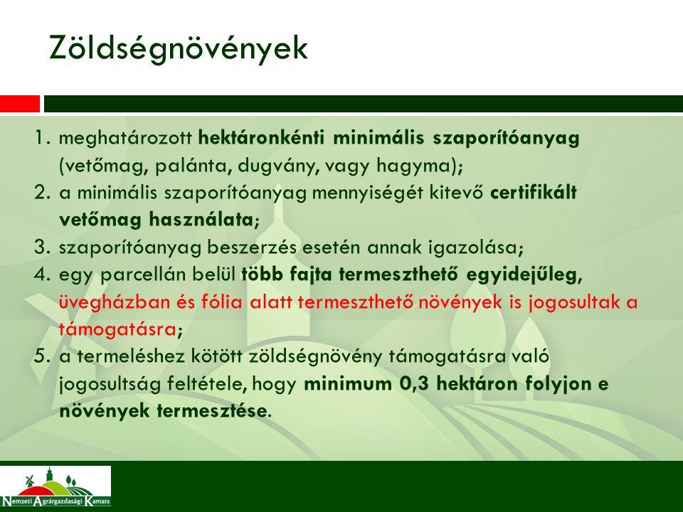 1.meghatározott hektáronkénti minimális szaporítóanyag (vetőmag, palánta, dugvány, vagy hagyma); 2.a minimális szaporítóanyag mennyiségét kitevő certi