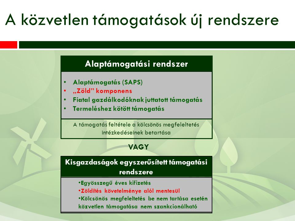 """A támogatás feltétele a kölcsönös megfeleltetés intézkedéseinek betartása A közvetlen támogatások új rendszere Alaptámogatás (SAPS) """"Zöld"""" komponens F"""