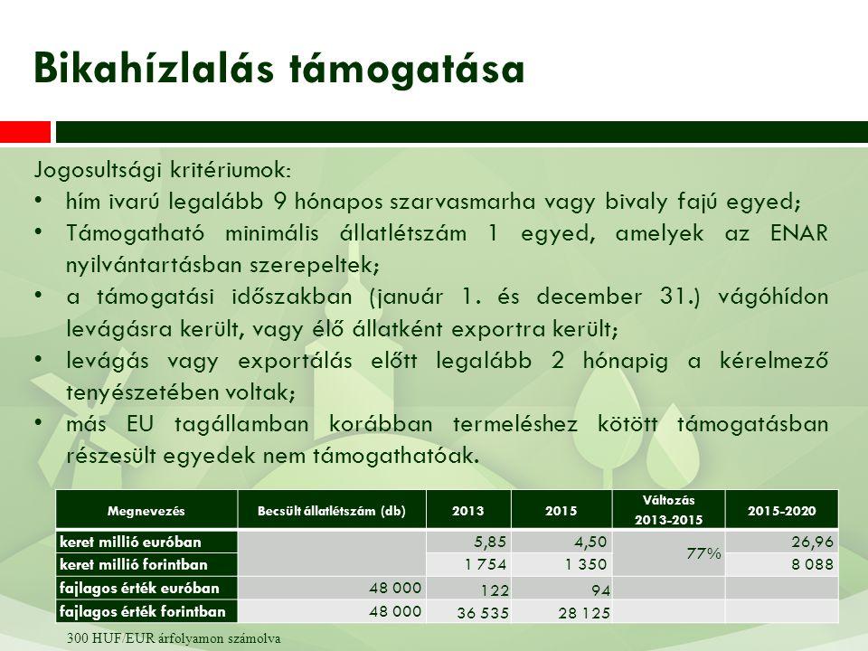 Jogosultsági kritériumok: A TIR/ENAR nyilvántartása alapján 24 hónapnál idősebb, legalább egyszer ellett nőivarú szarvasmarha; minimális támogatható egyed: 1; a tejelő tehén után járó támogatás igénylése esetén ugyanarra a tehénre nem igényeltek anyatehén támogatást; a termelőnek tejtermelési kötelezettsége van; a tenyészet igazoltan gümőkor-, brucellózis- és leukózismentes; a tehenek a NÉBIH hivatalos tejtermelés ellenőrzése alatt állnak vagy fajtatiszta tejelő tehenek vagy megfelelnek az 52/2010.