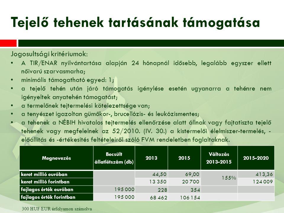 Jogosultsági kritériumok: A TIR/ENAR nyilvántartása alapján 24 hónapnál idősebb, legalább egyszer ellett nőivarú szarvasmarha; minimális támogatható e