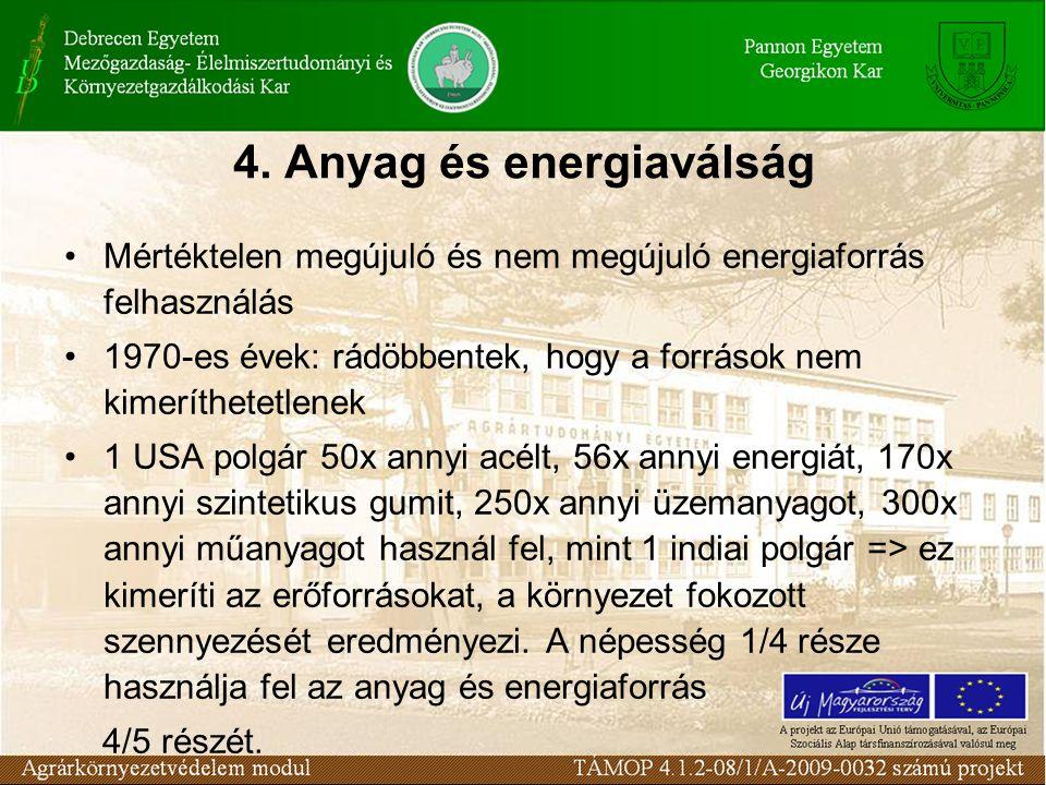 4. Anyag és energiaválság Mértéktelen megújuló és nem megújuló energiaforrás felhasználás 1970-es évek: rádöbbentek, hogy a források nem kimeríthetetl
