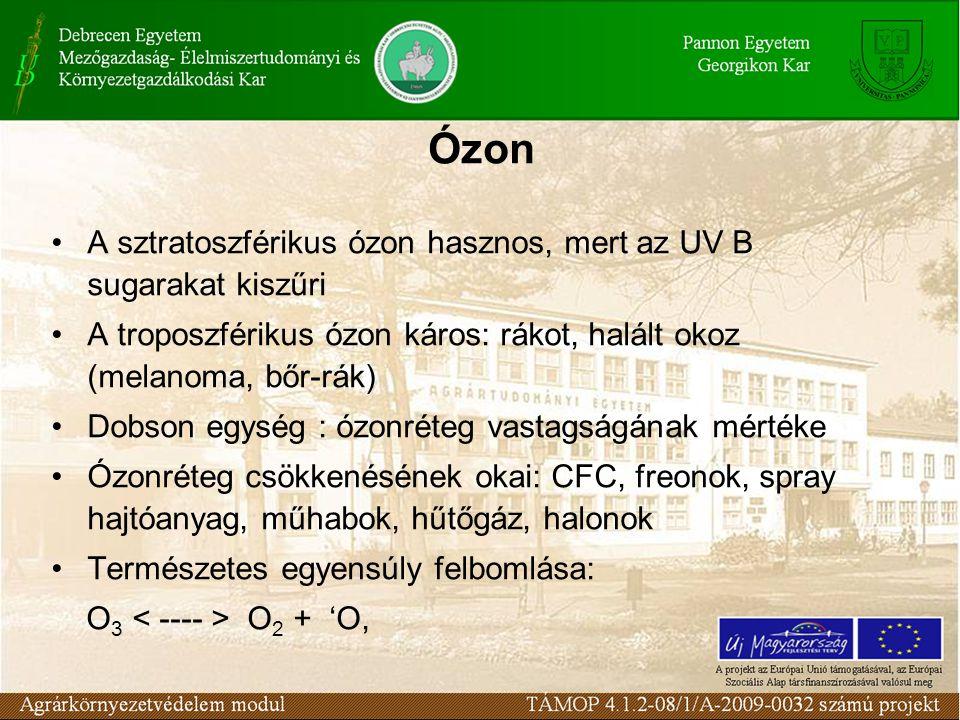 Ózon A sztratoszférikus ózon hasznos, mert az UV B sugarakat kiszűri A troposzférikus ózon káros: rákot, halált okoz (melanoma, bőr-rák) Dobson egység : ózonréteg vastagságának mértéke Ózonréteg csökkenésének okai: CFC, freonok, spray hajtóanyag, műhabok, hűtőgáz, halonok Természetes egyensúly felbomlása: O 3 O 2 + 'O,