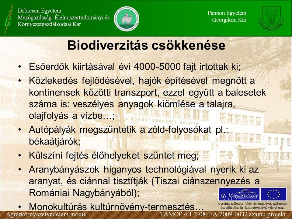 Biodiverzitás csökkenése Esőerdők kiirtásával évi 4000-5000 fajt írtottak ki; Közlekedés fejlődésével, hajók építésével megnőtt a kontinensek közötti transzport, ezzel együtt a balesetek száma is: veszélyes anyagok kiömlése a talajra, olajfolyás a vízbe…; Autópályák megszüntetik a zöld-folyosókat pl.: békaátjárók; Külszíni fejtés élőhelyeket szüntet meg; Aranybányászok higanyos technológiával nyerik ki az aranyat, és ciánnal tisztítják (Tiszai ciánszennyezés a Romániai Nagybányából); Monokultúrás kultúrnövény-termesztés…
