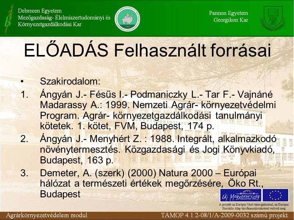 ELŐADÁS Felhasznált forrásai Szakirodalom: 1.Ángyán J.- Fésűs I.- Podmaniczky L.- Tar F.- Vajnáné Madarassy A.: 1999. Nemzeti Agrár- környezetvédelmi