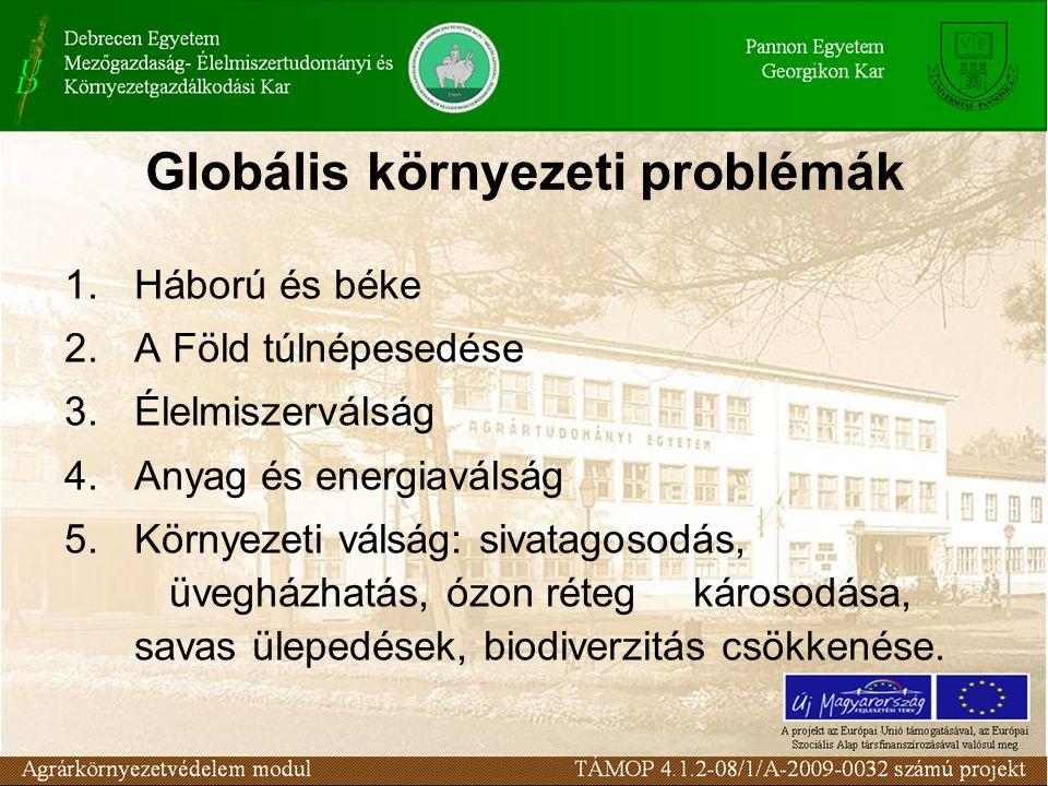 Globális környezeti problémák 1.Háború és béke 2.A Föld túlnépesedése 3.Élelmiszerválság 4.Anyag és energiaválság 5.Környezeti válság: sivatagosodás, üvegházhatás, ózon réteg károsodása, savas ülepedések, biodiverzitás csökkenése.