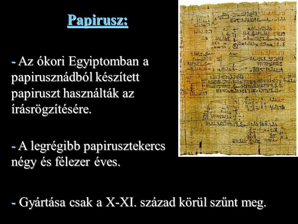 11 Pergamen: - A IV.századtól vált a legnépszerűbb írásalapanyaggá kiszorítva a papiruszt.