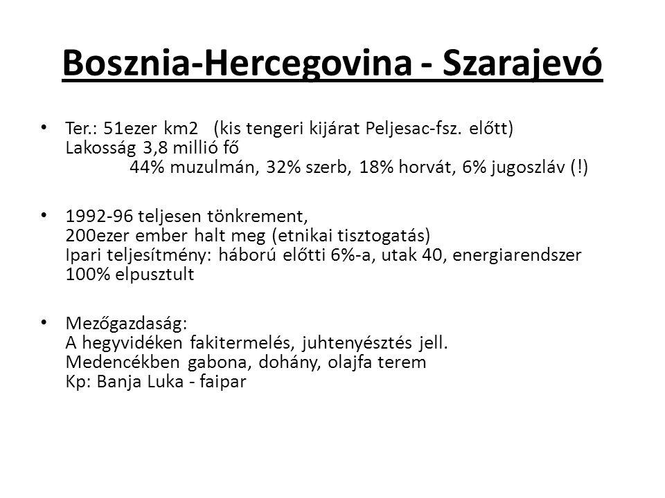 Bosznia-Hercegovina - Szarajevó Ter.: 51ezer km2 (kis tengeri kijárat Peljesac-fsz. előtt) Lakosság 3,8 millió fő 44% muzulmán, 32% szerb, 18% horvát,