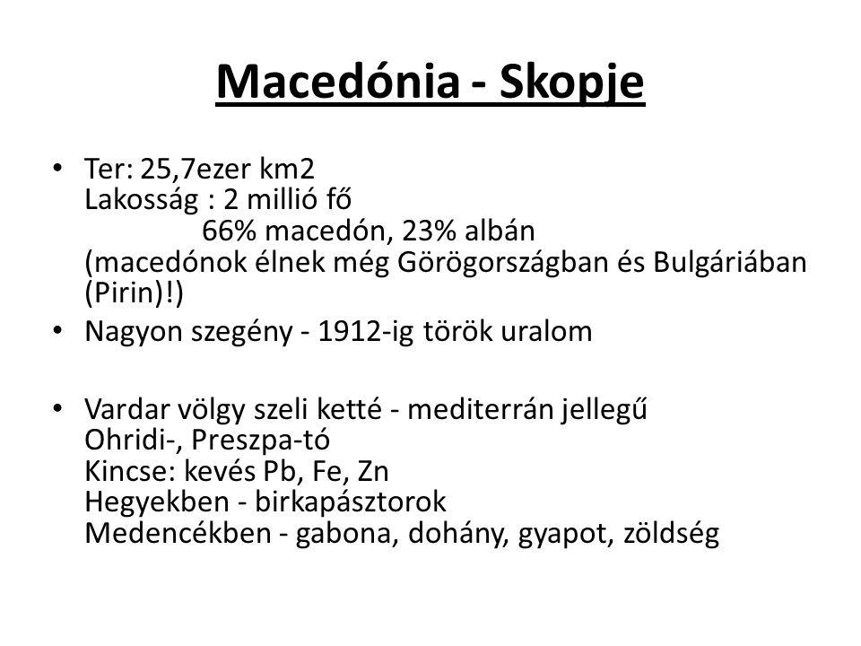 Macedónia - Skopje Ter: 25,7ezer km2 Lakosság : 2 millió fő 66% macedón, 23% albán (macedónok élnek még Görögországban és Bulgáriában (Pirin)!) Nagyon szegény - 1912-ig török uralom Vardar völgy szeli ketté - mediterrán jellegű Ohridi-, Preszpa-tó Kincse: kevés Pb, Fe, Zn Hegyekben - birkapásztorok Medencékben - gabona, dohány, gyapot, zöldség