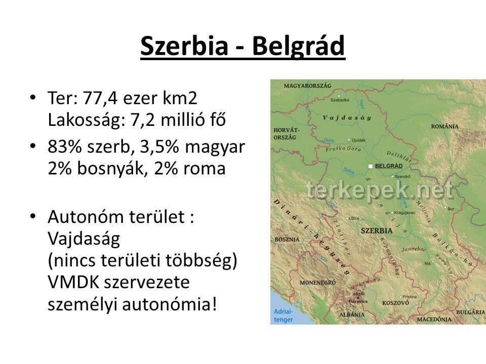 Szerbia - Belgrád Ter: 77,4 ezer km2 Lakosság: 7,2 millió fő 83% szerb, 3,5% magyar 2% bosnyák, 2% roma Autonóm terület : Vajdaság (nincs területi többség) VMDK szervezete személyi autonómia!