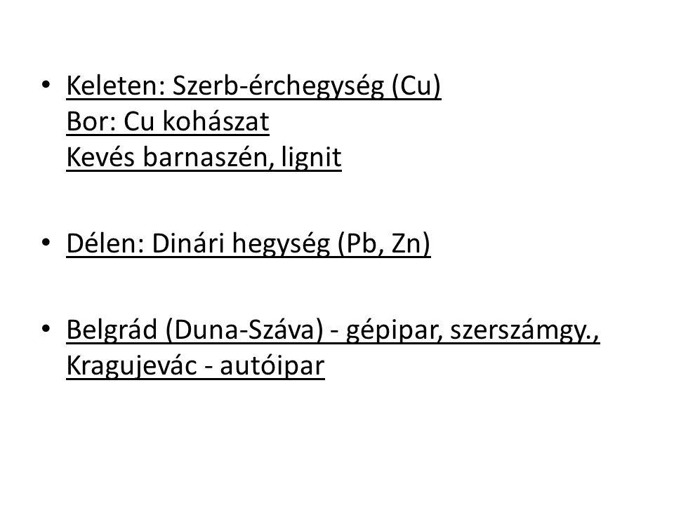 Keleten: Szerb-érchegység (Cu) Bor: Cu kohászat Kevés barnaszén, lignit Délen: Dinári hegység (Pb, Zn) Belgrád (Duna-Száva) - gépipar, szerszámgy., Kragujevác - autóipar
