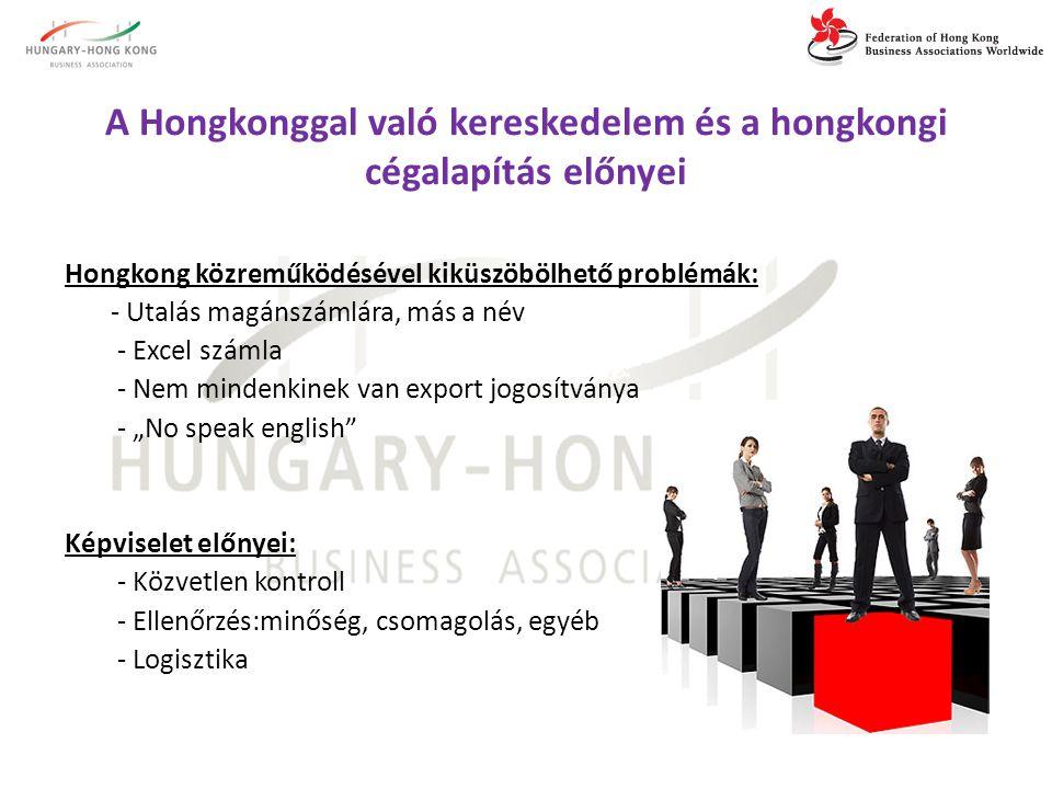 """A Hongkonggal való kereskedelem és a hongkongi cégalapítás előnyei Hongkong közreműködésével kiküszöbölhető problémák: - Utalás magánszámlára, más a név - Excel számla - Nem mindenkinek van export jogosítványa - """"No speak english Képviselet előnyei: - Közvetlen kontroll - Ellenőrzés:minőség, csomagolás, egyéb - Logisztika"""