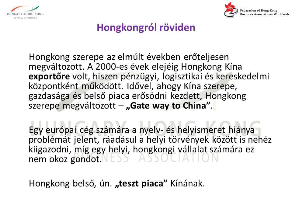 Hongkongról röviden  Világkereskedelmi központ (pénzügyi, logisztikai)  Dinamizmus, energikusság, töretlen fejlődés, pozitív hozzáállás  Hong Kong szerepe Kínával (Mainland China-val ) való együttműködésben fontos, mert:  Nyelv  Hong Konggal gördülékeny kommunikáció, munkamenet  Mennyiségek és piaci méret különbségek  Ki a gyártó és ki a kereskedő?