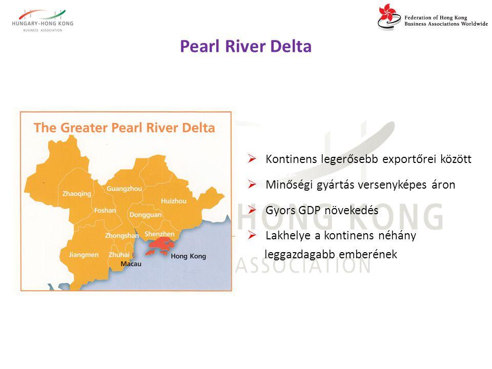 Pearl River Delta  Kontinens legerősebb exportőrei között  Minőségi gyártás versenyképes áron  Gyors GDP növekedés  Lakhelye a kontinens néhány leggazdagabb emberének