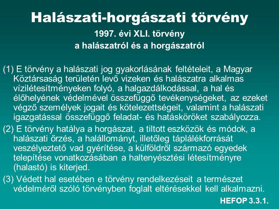 HEFOP 3.3.1. Halászati-horgászati törvény 1997. évi XLI. törvény a halászatról és a horgászatról (1) E törvény a halászati jog gyakorlásának feltétele