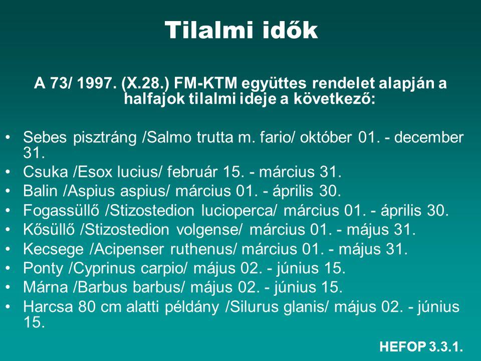 HEFOP 3.3.1. Tilalmi idők A 73/ 1997. (X.28.) FM-KTM együttes rendelet alapján a halfajok tilalmi ideje a következő: Sebes pisztráng /Salmo trutta m.