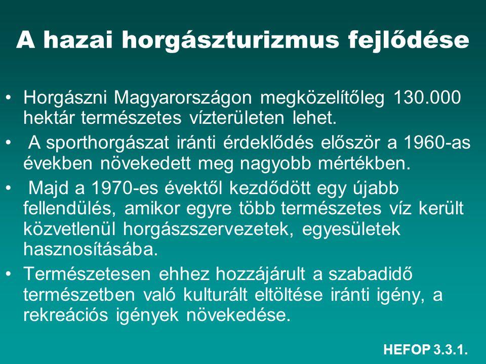 HEFOP 3.3.1. A hazai horgászturizmus fejlődése Horgászni Magyarországon megközelítőleg 130.000 hektár természetes vízterületen lehet. A sporthorgászat