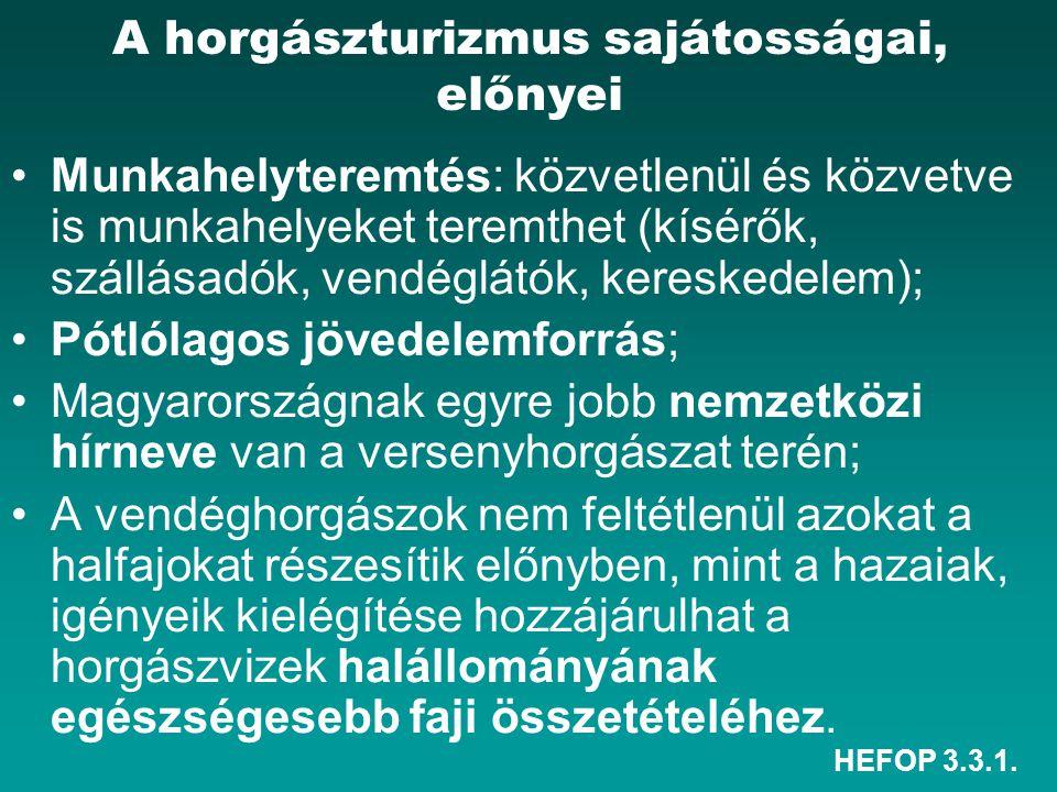 HEFOP 3.3.1. A horgászturizmus sajátosságai, előnyei Munkahelyteremtés: közvetlenül és közvetve is munkahelyeket teremthet (kísérők, szállásadók, vend