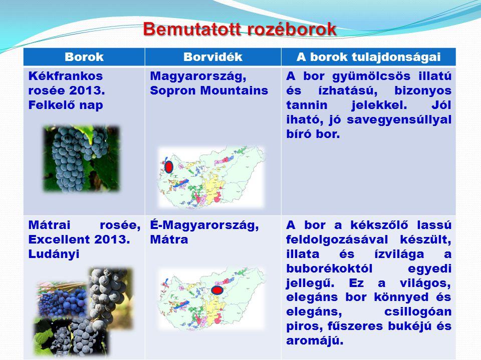 BorokBorvidékA borok tulajdonságai Kékfrankos rosée 2013. Felkelő nap Magyarország, Sopron Mountains A bor gyümölcsös illatú és ízhatású, bizonyos tan