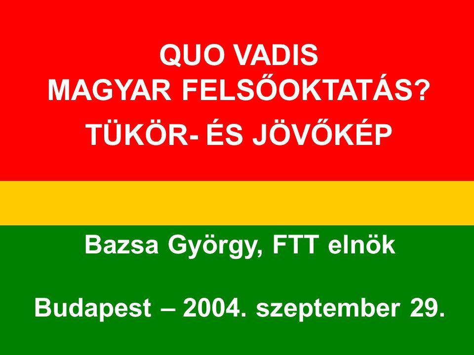 1 QUO VADIS MAGYAR FELSŐOKTATÁS? TÜKÖR- ÉS JÖVŐKÉP Bazsa György, FTT elnök Budapest – 2004. szeptember 29.