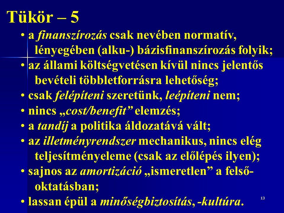 13 Tükör – 5 a finanszírozás csak nevében normatív, lényegében (alku-) bázisfinanszírozás folyik; az állami költségvetésen kívül nincs jelentős bevéte