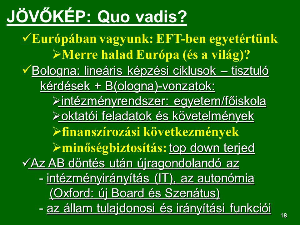 19 JÖVŐKÉP: az új törvény Célja: a felsőoktatás minőségének javítása, átjárható intézmények – MK és EU szinten, a magyar diplomák versenyképességének fokozása, eredményes csatlakozás az Európai Felső- oktatási Térséghez, az oktatás,kutatás egységének megvalósítása, korszerű működési formák elterjesztése.