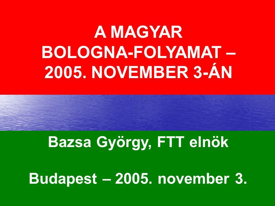 2 A MAGYAR BOLOGNA-FOLYAMAT – 2005. NOVEMBER 3-ÁN Bazsa György, FTT elnök Budapest – 2005. november 3.