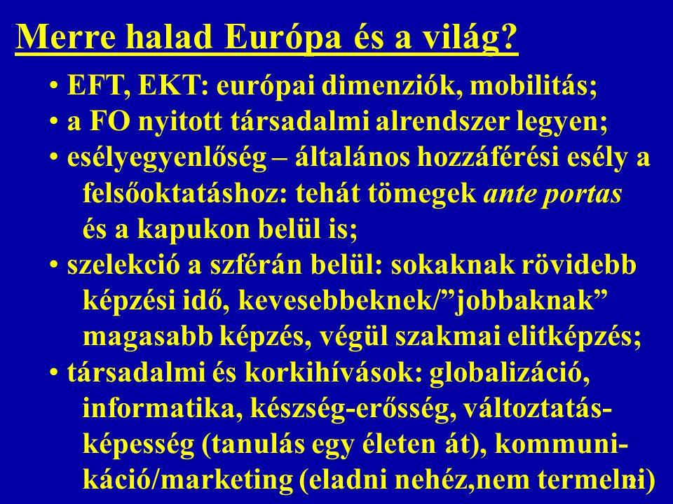21 Merre halad Európa és a világ? EFT, EKT: európai dimenziók, mobilitás; a FO nyitott társadalmi alrendszer legyen; esélyegyenlőség – általános hozzá
