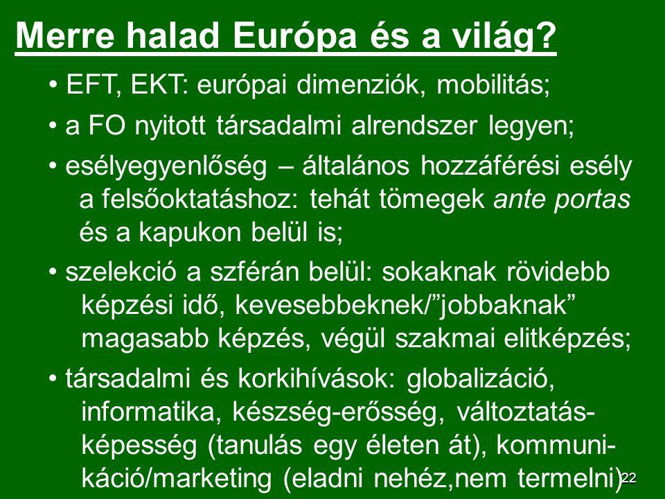 22 Merre halad Európa és a világ? EFT, EKT: európai dimenziók, mobilitás; a FO nyitott társadalmi alrendszer legyen; esélyegyenlőség – általános hozzá