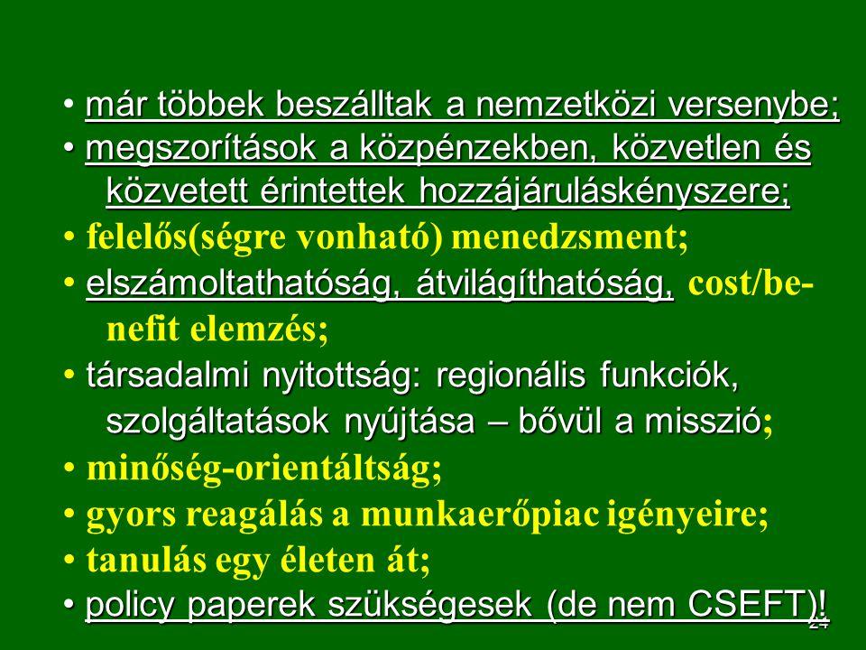 25 Bologna: ciklusos képzési szerkezet Három ciklusú, lineáris képzési rend; Európa határozta el, angolszász mintára; mi nem koncepcionális alapvetéssel kezdtük (a hollandok, norvégok stb.