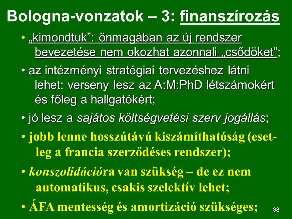 """38 Bologna-vonzatok – 3: finanszírozás """"kimondtuk"""": önmagában az új rendszer bevezetése nem okozhat azonnali """"csődöket""""; az intézményi stratégiai terv"""