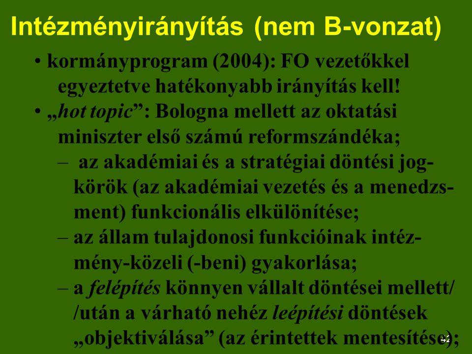 """42 Intézményirányítás (nem B-vonzat) kormányprogram (2004): FO vezetőkkel egyeztetve hatékonyabb irányítás kell! """"hot topic"""": Bologna mellett az oktat"""
