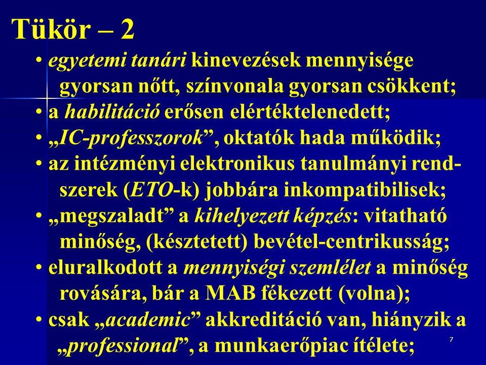 """Tükör – 2 az egyetemi tanári kinevezések számát a MAB szűrője redukálta, színvonala (hümm?) stagnál; a habilitáció erősen elértéktelenedett, az új törvényből ki is maradt, sorsa bizonytalan ; """"IC-professzorok , oktatók hada csökkent ; az intézményi elektronikus tanulmányi rend- szerek (ETO-k) jobbára inkompatibilisek; """" fékeződött a kihelyezett képzés: vitatható minőség, (késztetett) bevétel-centrikusság; eluralkodott a mennyiségi szemlélet a minőség rovására, bár a MAB fékezett; ma az akkreditáció alapja: ki és mit tanít."""