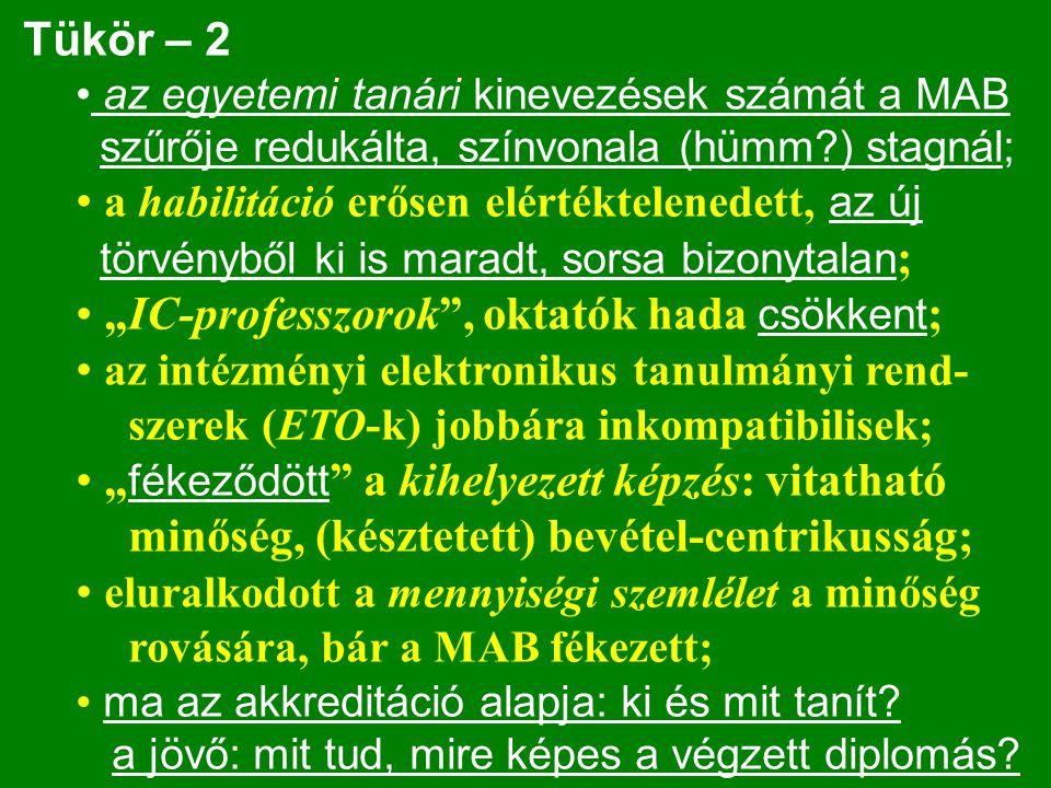 Tükör – 2 az egyetemi tanári kinevezések számát a MAB szűrője redukálta, színvonala (hümm?) stagnál; a habilitáció erősen elértéktelenedett, az új tör