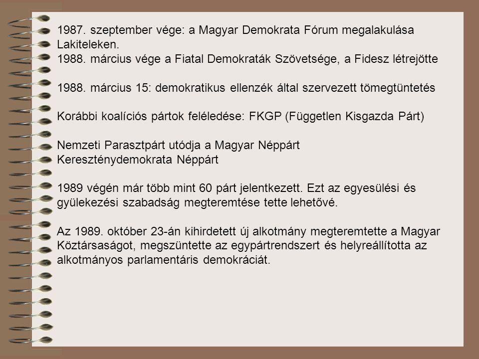 1987. szeptember vége: a Magyar Demokrata Fórum megalakulása Lakiteleken. 1988. március vége a Fiatal Demokraták Szövetsége, a Fidesz létrejötte 1988.